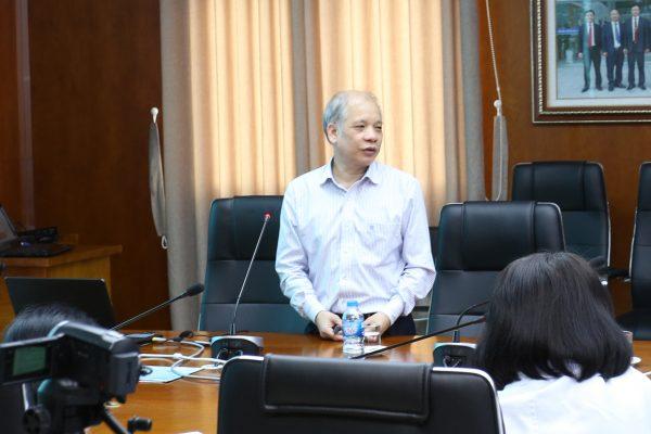 GS.TS Nguyễn Quốc Kính- nguyên giám đốc TT Gây mê hồi sức, bệnh viện hữu nghị Việt Đức giảng bài tại bệnh viện đa khoa quốc tế Hải Phòng