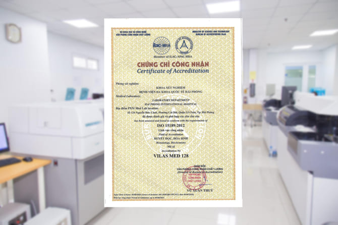 chứng chỉ ISO 15189:2012