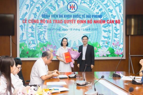 Công bố và trao quyết định bổ nhiệm chức danh Phó trưởng Khoa Dược, Bệnh viện đa khoa Quốc tế Hải Phòng